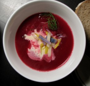 Roasted Beet Borscht with Dill-Pickled Apples