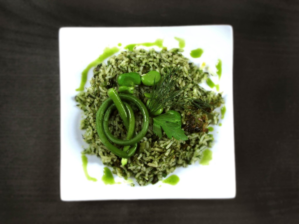 Green Rice with Fava Beans and Garlic Scapes