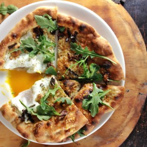 Pizza with Egg, Arugula and Chanterelles